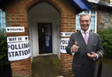 Nigel Farage, the leader of the United Kingdom Independence Party (UKIP), leaves after voting in the EU referendum, at a polling station in Biggin Hill, Britain June 23, 2016.  REUTERS/Dylan Martinez