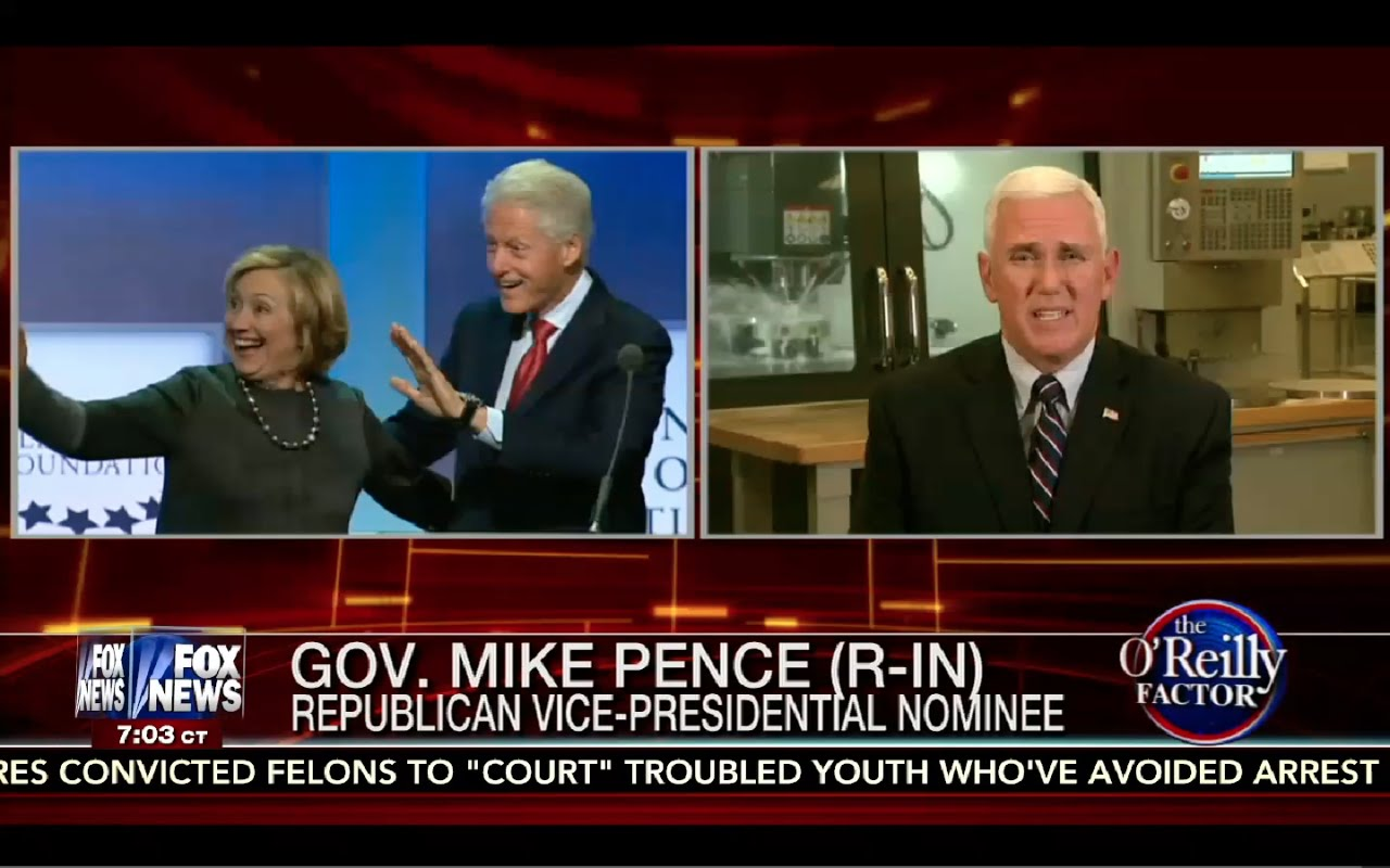 O'Reilly Factor 8/24/16 FULL: Mike Pence Says Hillary's Obviously Corrupt! Prosecute Hillary! 6