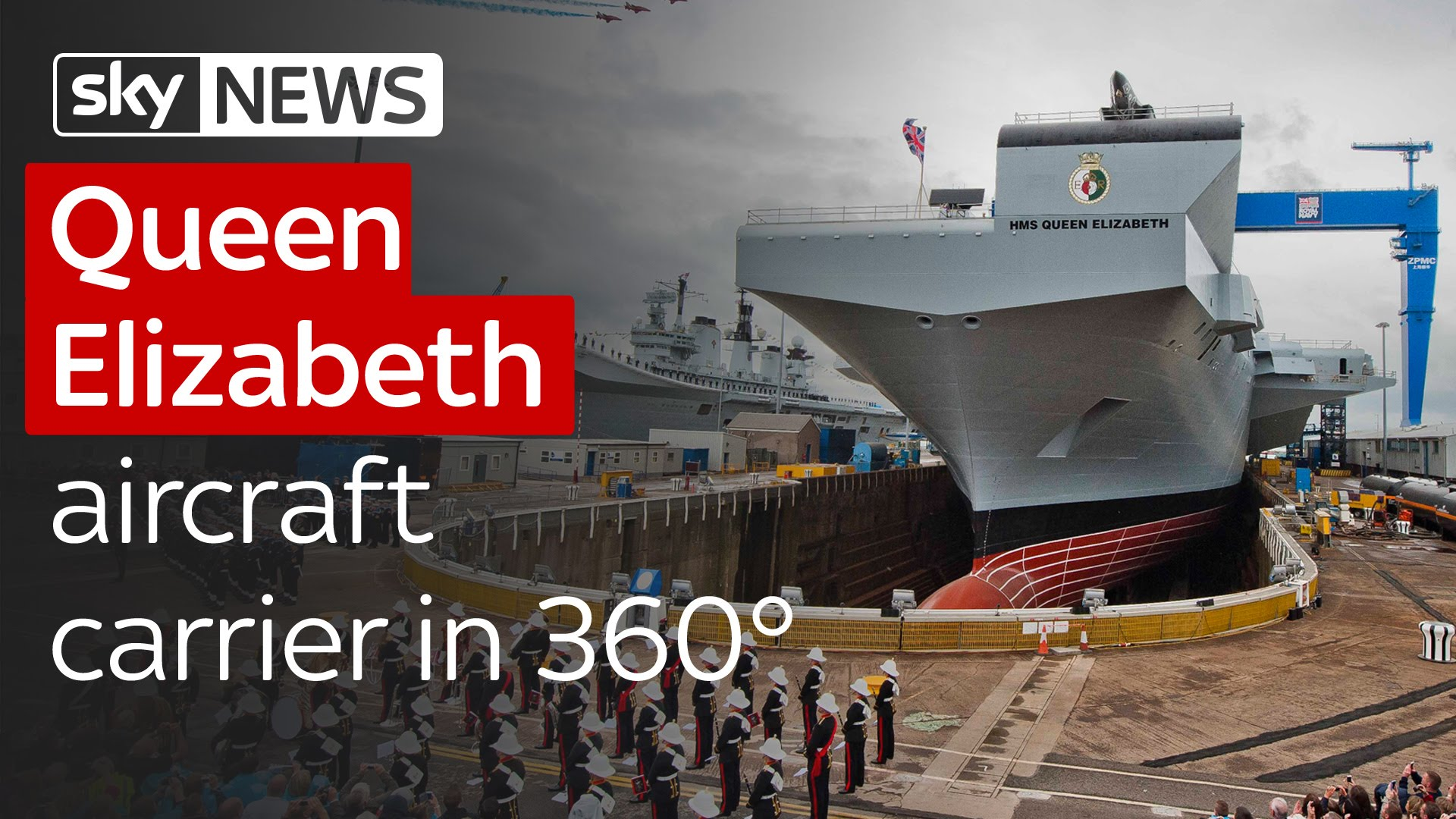 Queen Elizabeth aircraft carrier in 360° 3