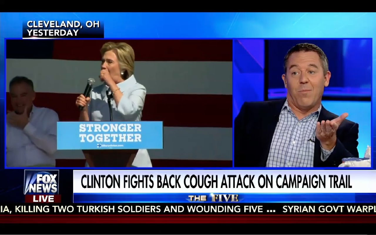 Greg Gutfeld Makes Fun of Hillary Clinton Coughing Attacks! Funny! 9/6/16 3
