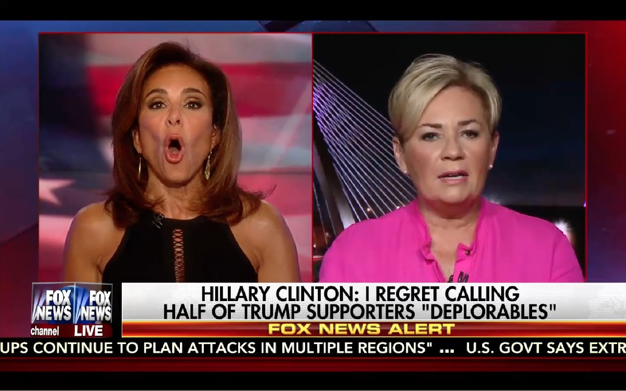 Judge Jeanine 9/10/16 Full: Judge Jeanine Furious at Hillary! Liar Clinton Insults Trump Supporters! 6