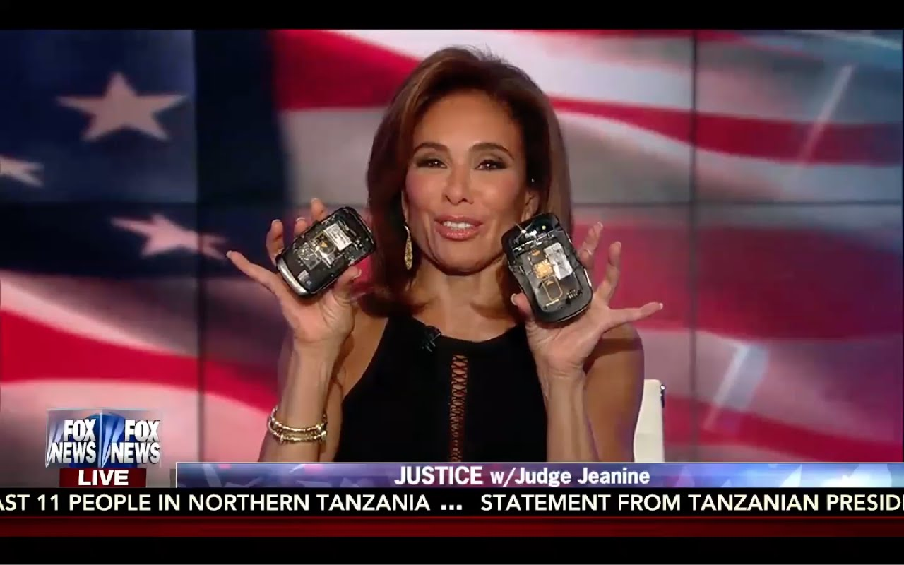 Judge Jeanine Smashes Blackberry Phone like Hillary Clinton! 9/10/16 6