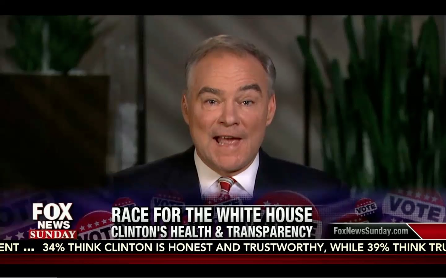 Hillary only told Tim Kaine of Her Sickness AFTER he Confronted her! Fox News Sunday 9/18/16 2
