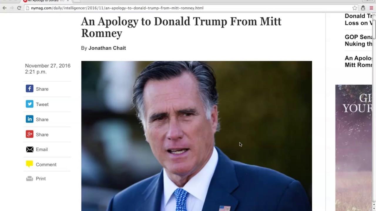 BREAKING: Donald Trump HUMILIATES Mitt Romney! 11/27/16 4