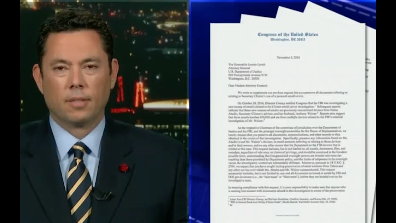 Jason Chaffetz Demands DOJ Preserve Hillary Clinton Files 11/3/16 6