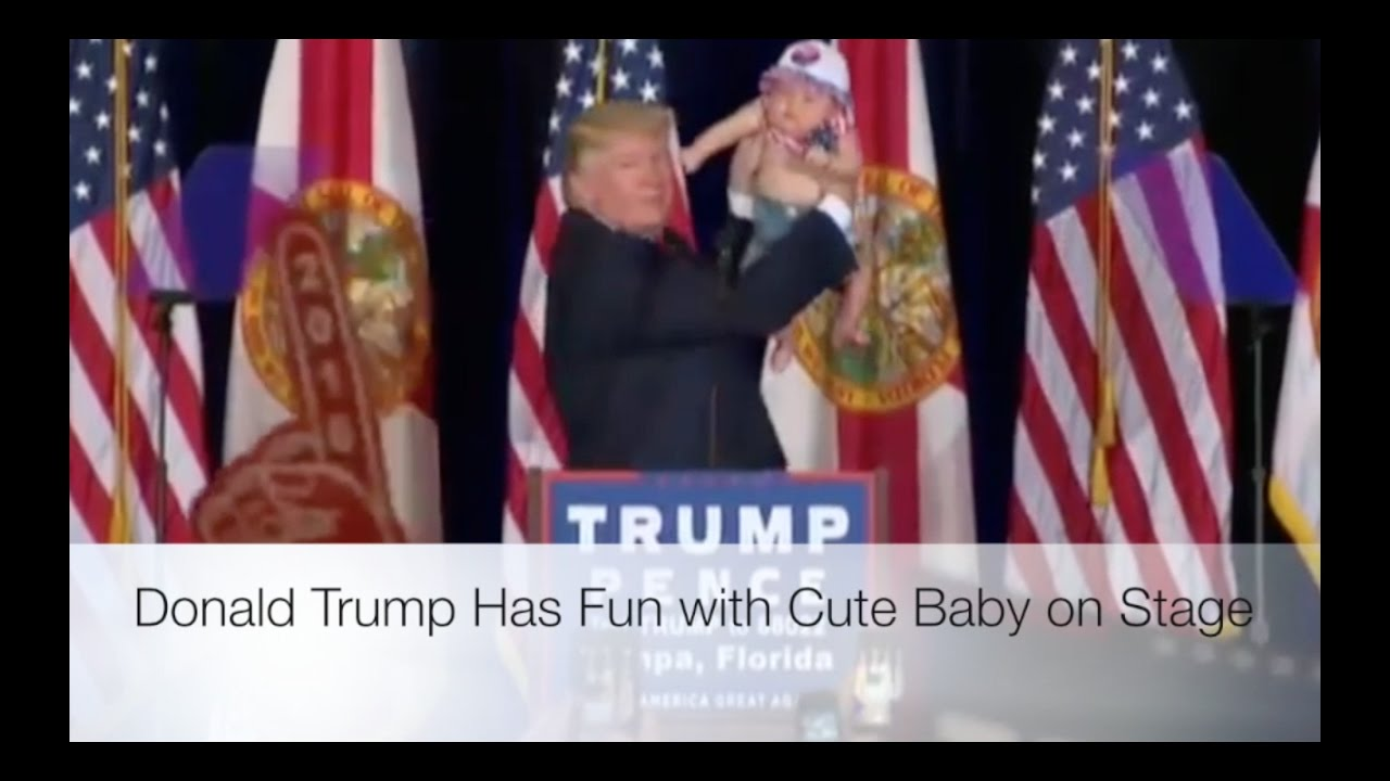 Donald Trump Has Fun with Cute Baby on Stage! 11/5/16 1