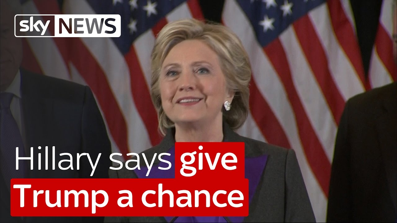 Hillary Clinton says give Trump a chance 9
