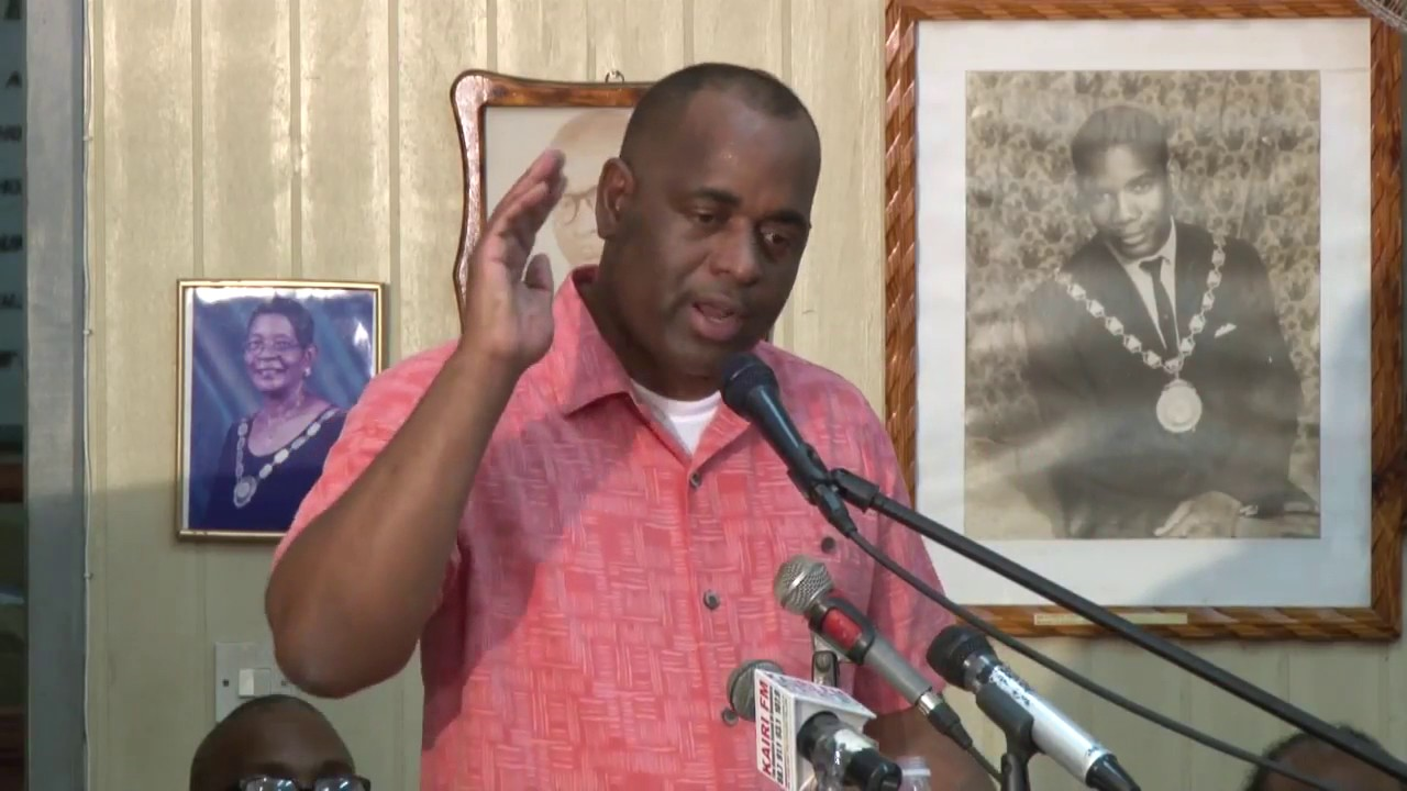 Hon. Prime Minister Roosevelt Skerrit address at town hall meeting in Roseau. 6