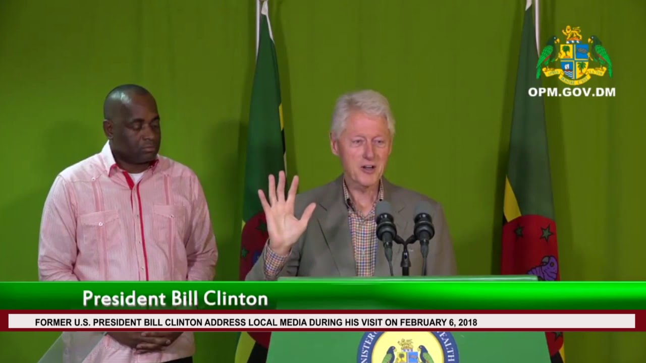 FORMER US PRESIDENT BILL CLINTON ADDRESSES MEDIA DURING HIS VISIT ON FEBRUARY 6, 2018 2