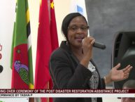Tasha P performs at Handing Over Ceremony of the Post Disaster Restoration Assistance Project