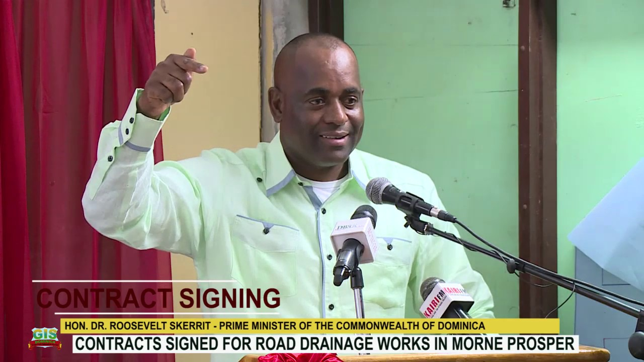 HON. PRIME MINISTER DR. ROOSEVELT SKERRIT ADDRESSES CONTRACT SIGNING CEREMONY IN MORNE PROSPER 3