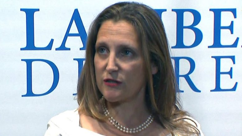 Freeland: McCallum doesn't speak for Canadian government 1