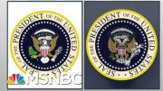 President Donald Trump Mocked On Stage By Errant Satire Presidential Seal | Rachel Maddow | MSNBC 2