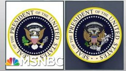 President Donald Trump Mocked On Stage By Errant Satire Presidential Seal | Rachel Maddow | MSNBC 8
