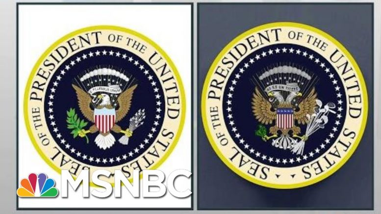 President Donald Trump Mocked On Stage By Errant Satire Presidential Seal | Rachel Maddow | MSNBC 1