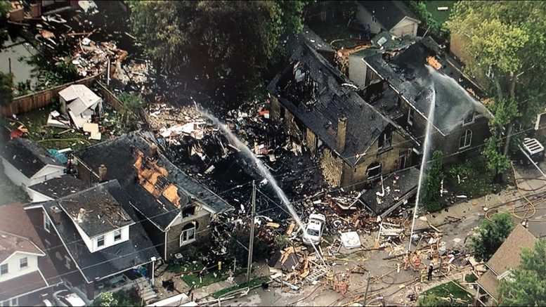 Aerial view of London, Ont. explosion aftermath from the CTV News chopper 1