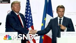 President Donald Trump And Macron Face Off In Another Handshake Tugging Contest | All In | MSNBC 6
