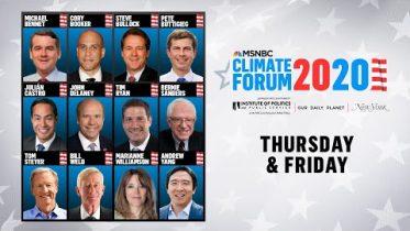 Watch Live: MSNBC's Climate Forum 2020 (DAY 1) | MSNBC 3