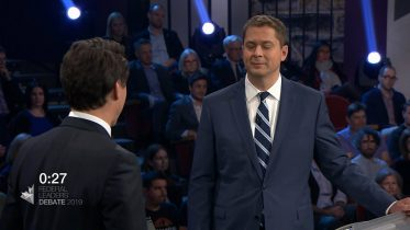 Trudeau and Scheer spar over the SNC-Lavalin scandal in leaders' debate 2