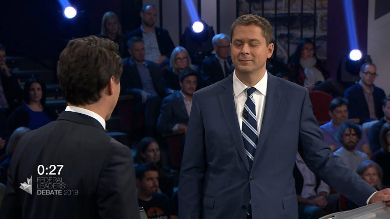Trudeau and Scheer spar over the SNC-Lavalin scandal in leaders' debate 1