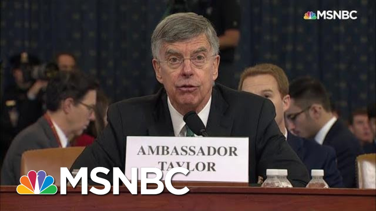 Bill Taylor Testifies Staff Member Heard Sondland Discuss 'The Investigations' With Trump | MSNBC 2