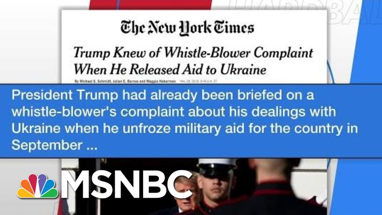 NYT: Trump Already Briefed On Whistleblower When He Unfroze Aid | Hardball | MSNBC 2