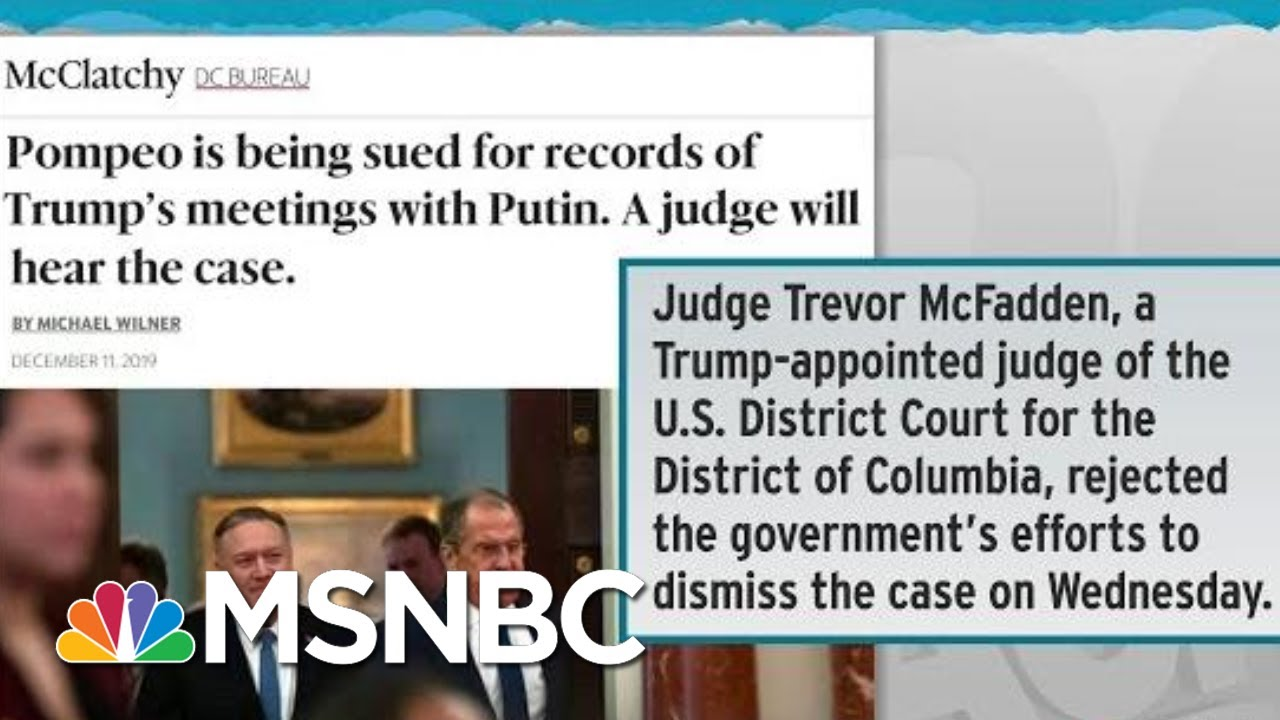 Judge Allows Lawsuit Seeking Trump-Putin Call Records | Rachel Maddow | MSNBC 4