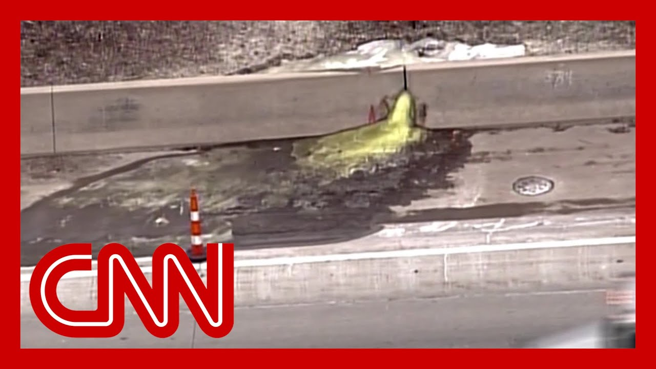 Green cancer-causing slime oozes onto Detroit highway 7