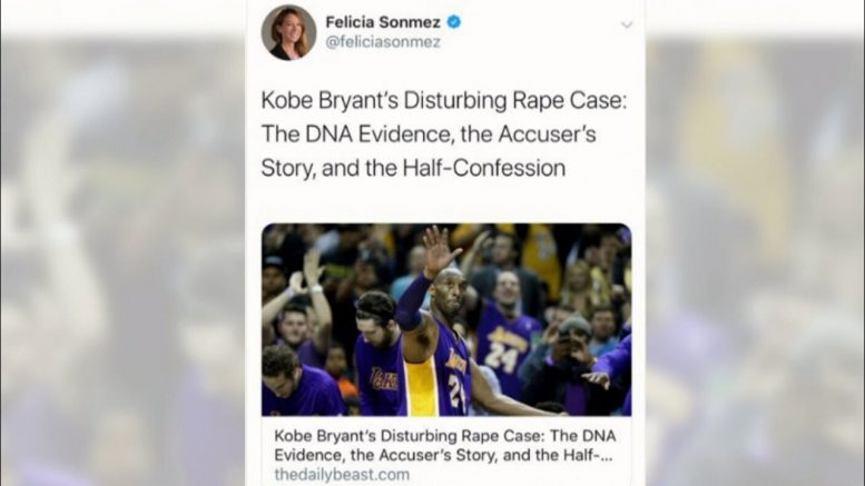 Reporter suspended after 'misguided' tweet on Kobe Bryant's death 1
