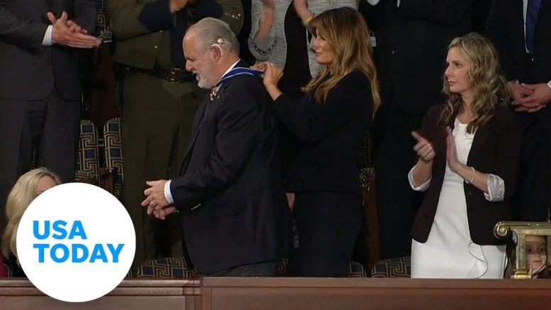 SOTU surprise moment: Rush Limbaugh presented with Medal of Freedom by first lady | USA TODAY 1