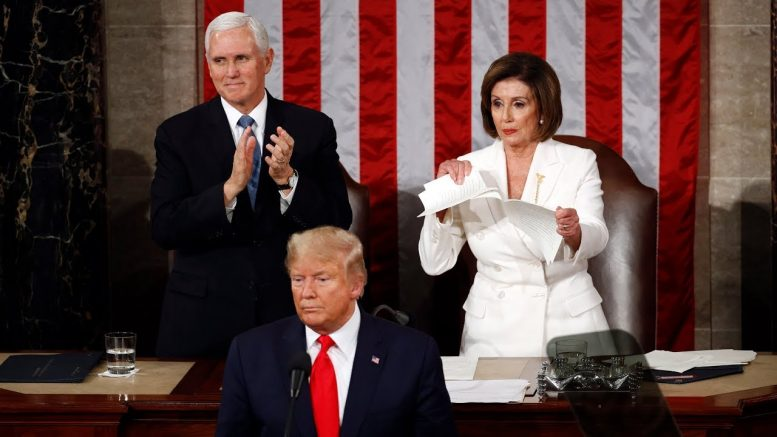Nancy Pelosi rips up her copy of Trump's address after State of the Union 1