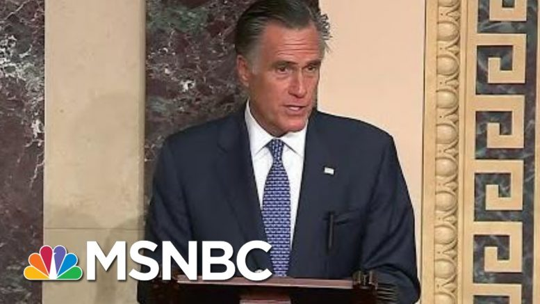 Mitt Romney Breaks With GOP, Will Vote To Convict President Donald Trump   Velshi & Ruhle   MSNBC 1