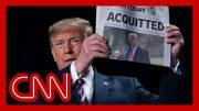 Trump waves 'acquitted' headline, takes shot at Mitt Romney in speech 2