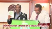 HON. LENNOX LINTON OFFICIALLY SWORN IN AS LEADER OF THE OPPOSITION 5
