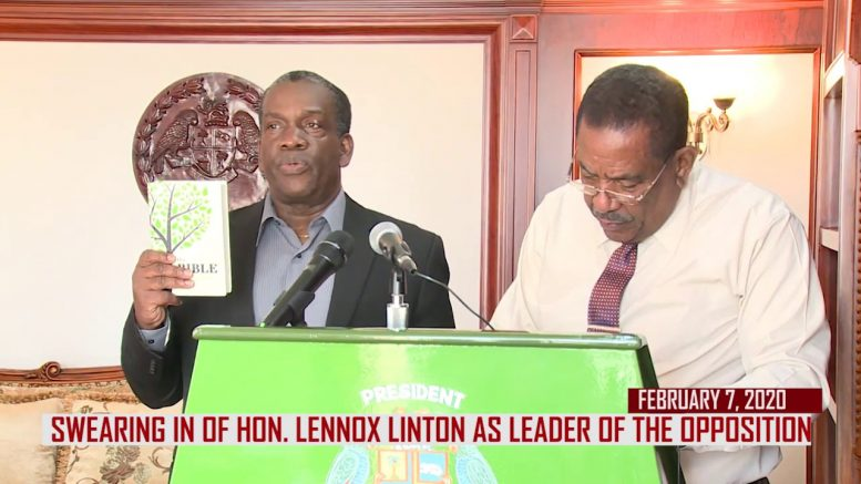 HON. LENNOX LINTON OFFICIALLY SWORN IN AS LEADER OF THE OPPOSITION 1