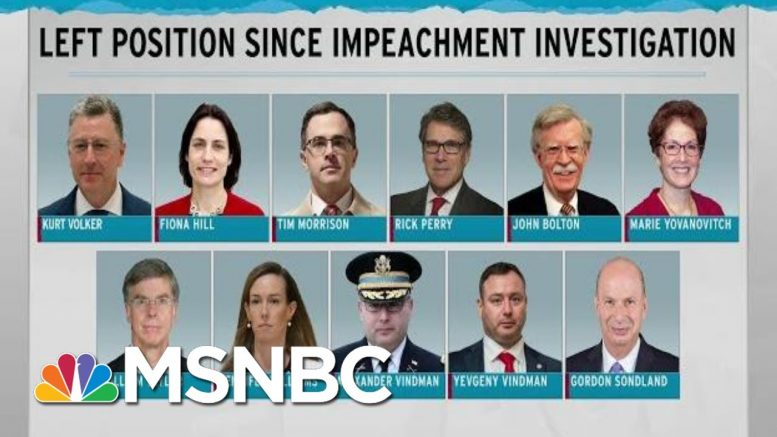 Witnesses Left Scattered In Wake Of Trump Impeachment Scandal | Rachel Maddow | MSNBC 1