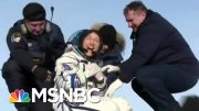 Astronaut Christina Koch's Dog Welcomes Her Home After A Year In Space | The 11th Hour | MSNBC 4