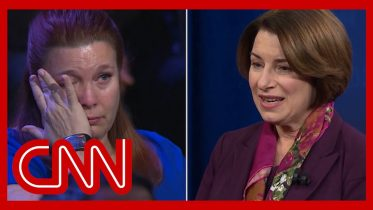 Klobuchar's story brings mass shooting survivor to tears | CNN Town Hall 6
