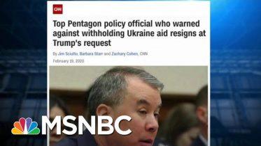DOD Official Who Advised Against Trump Hold On Ukraine Aid Dismissed | Rachel Maddow | MSNBC 6