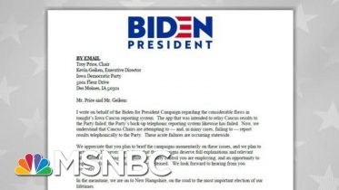 Joe Biden Camp Sends Letter To State Party On 'Acute Failures' In Results | MSNBC 6