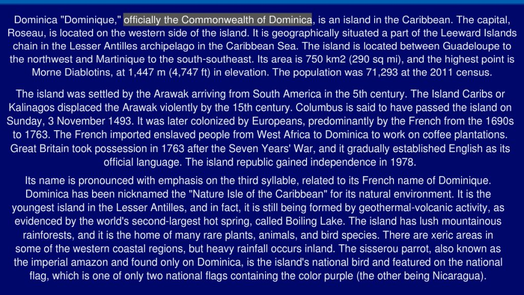 The Commonwealth of Dominica in brief