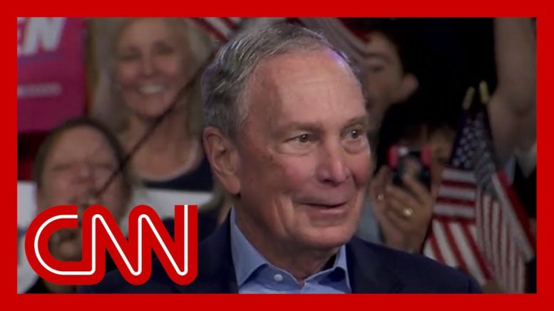 Bloomberg addresses voters as polls close on Super Tuesday 1