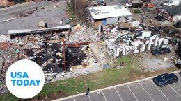 Devastating damage shown in drone footage after tornado tears through Nashville | USA TODAY 9