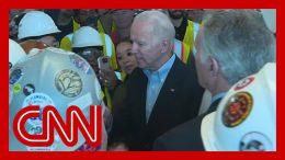 Joe Biden confronted on gun control by auto plant worker 7