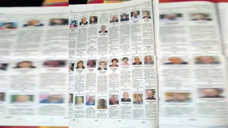 Heartbreaking video of 10 full pages of obituaries shows toll of COVID-19 in Italy 1