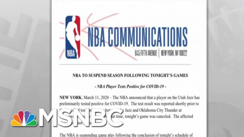 NBA Suspends Rest Of Season After Player Tests Positive For Coronavirus | Rachel Maddow | MSNBC 1
