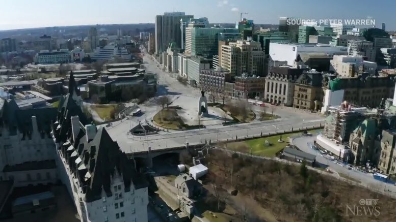 Aerial footage shows deserted streets in Ottawa 1
