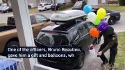 Birthday boy surprised by police officers while in lockdown 4