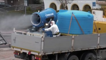 Snow gun used to spray Italian towns with disinfectant 6