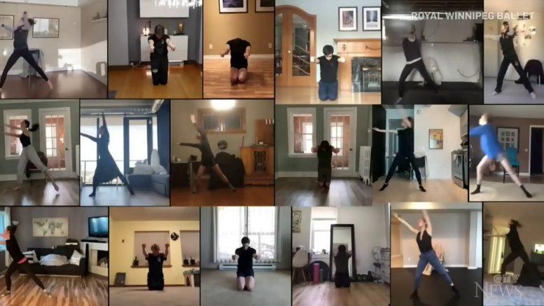 Royal Winnipeg Ballet dancers perform while at home 1